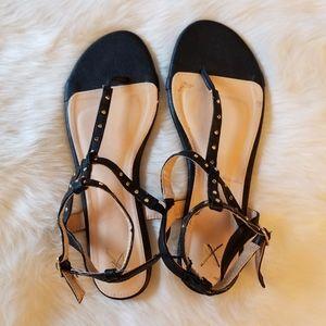 NY & C Black Strap Sandals Gold Metal Studs New